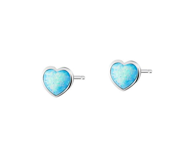 Rhodium Plated Silver Earrings with Synthetic Opal
