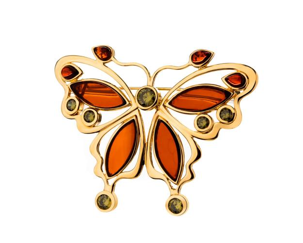 Gold-Plated Brass Brooch with Amber