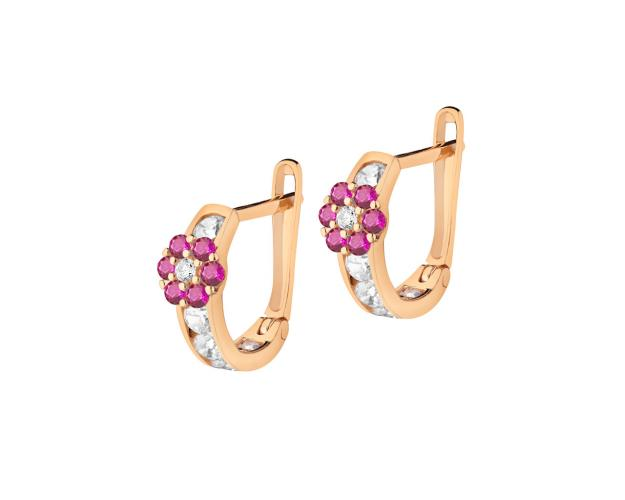 Gold earrings - pink flowers
