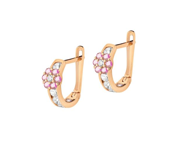 Pink Gold Earrings with Cubic Zirconia