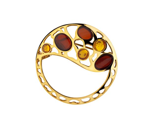 Brass Brooch with Amber