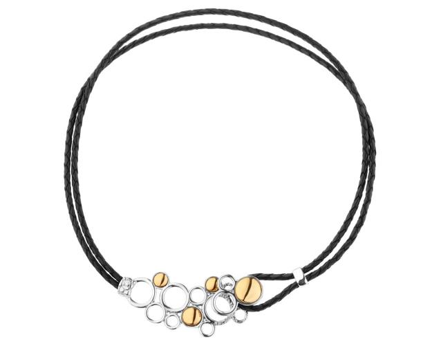 Rhodium- and gold-plated brass necklace
