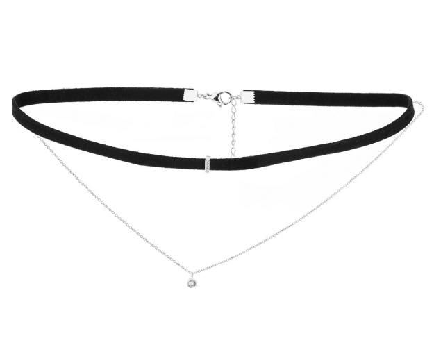 Stainless Steel Choker with Cubic Zirconia