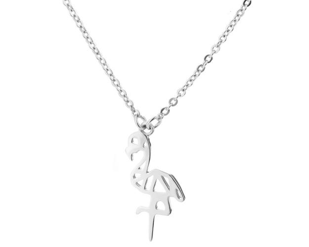 Silver necklace - Flamingo