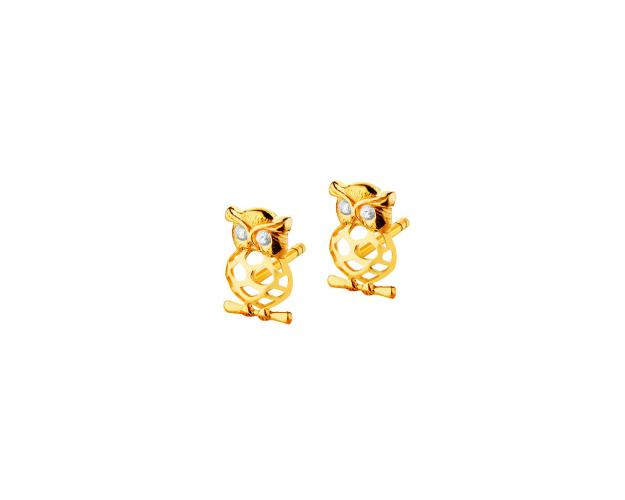8ct Yellow Gold Earrings with Cubic Zirconia