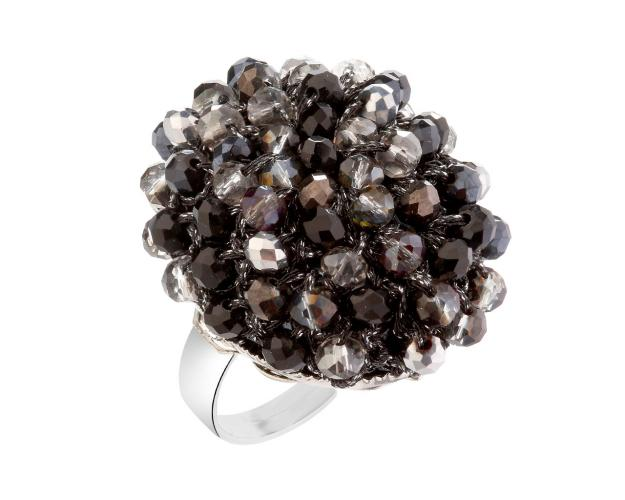 Rhodium-Plated Brass Ring with Glass Beads