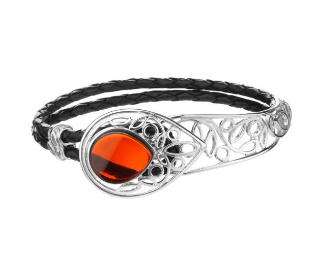 Rhodium-Plated Brass Bracelet with Amber