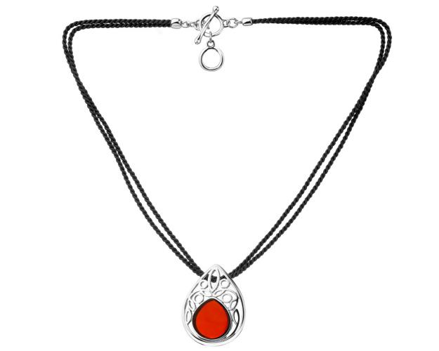Rhodium-Plated Brass Necklace with Amber