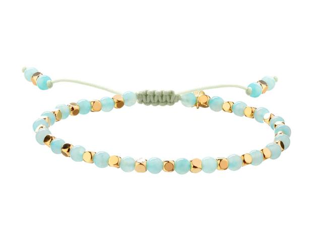 Gold-Plated Brass Bracelet with Amazonite