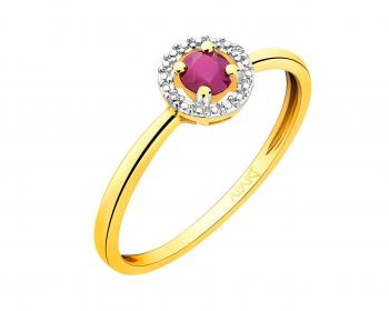 9ct Yellow Gold Ring with Diamonds