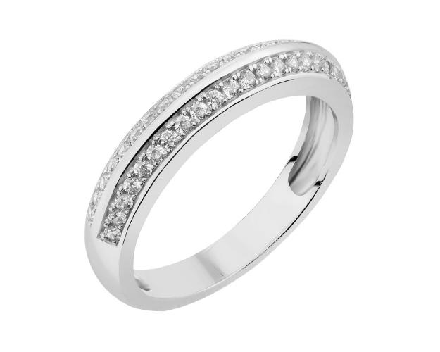 Rhodium Plated Silver Ring with Cubic Zirconia
