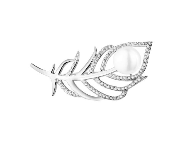 Rhodium Plated Silver Brooch with Cubic Zirconia