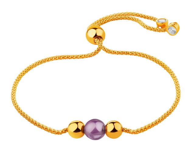 14ct Yellow Gold Bracelet with Synthetic Amethyst