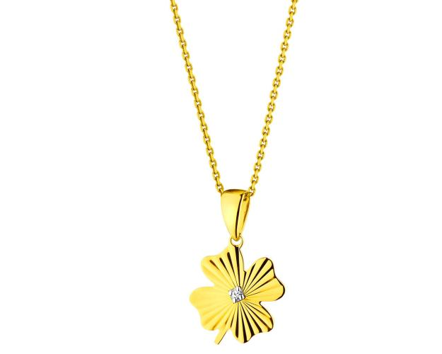 9ct Yellow Gold Pendant with Diamond