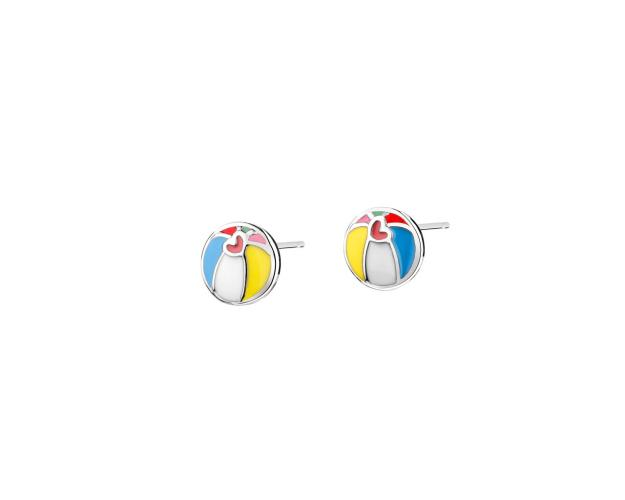 Silver earrings with enamel - Balls