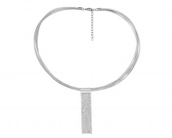 Collar de Acero Inoxidable, Lurex con Cristal