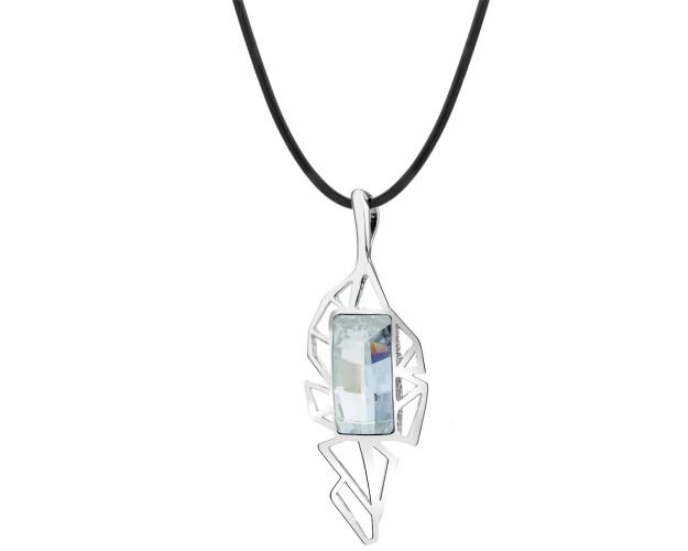 Rhodium Plated Silver Necklace with Crystal