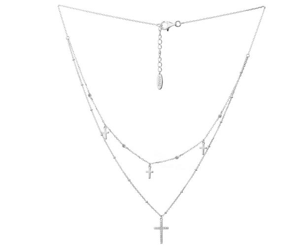 Silver necklace with cubic zirconia - Cross