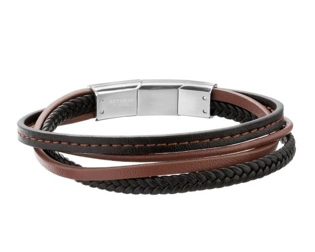 Stainless Steel, Leather Bracelet