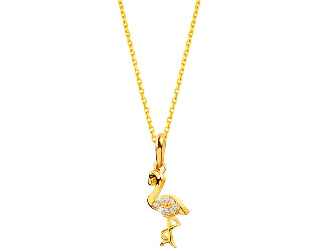 Gold pendant - Flamingo