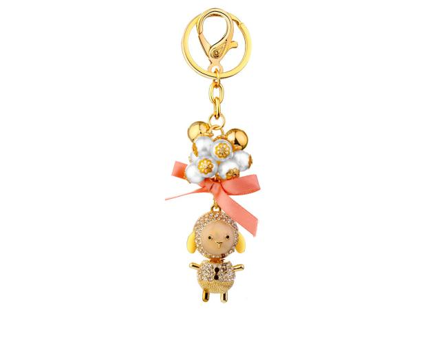 Bling Crystal Sheep Keychain