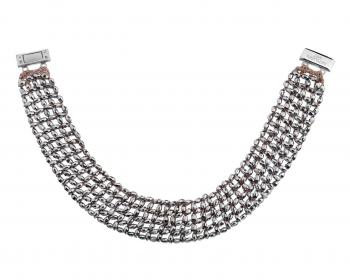 Rhodium-Plated Brass Choker with Glass