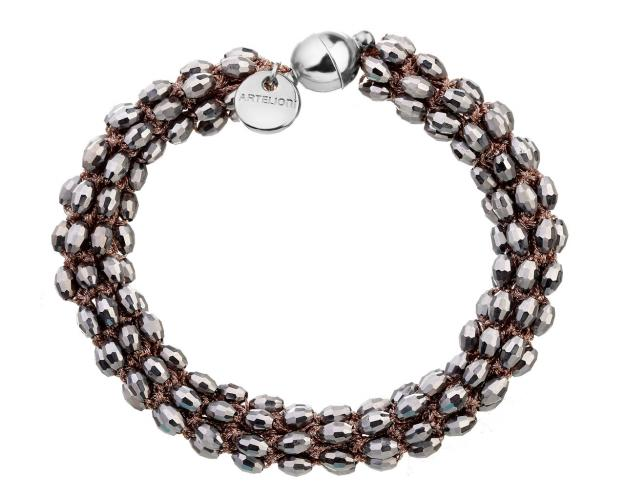 Rhodium-Plated Brass Bracelet with Glass