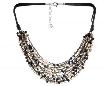 Rhodium-Plated Brass Necklace with Glass