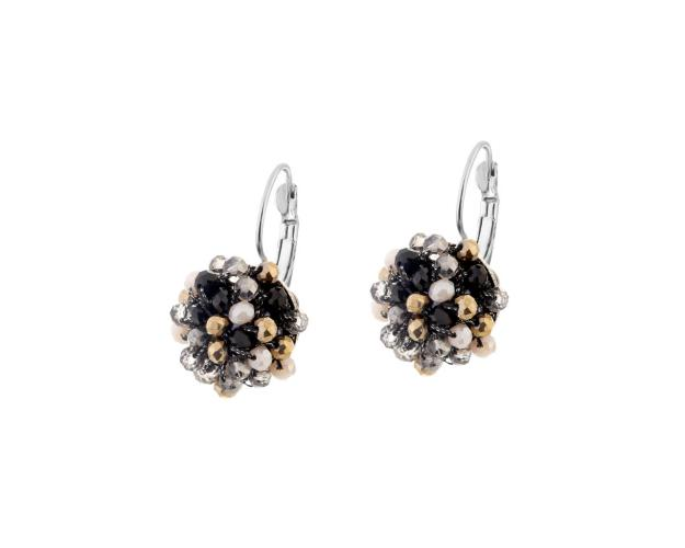 Rhodium-Plated Brass Earrings with Glass