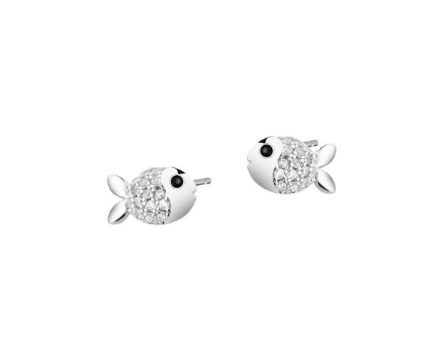 Silver earrings with cubic zirconia - Fish