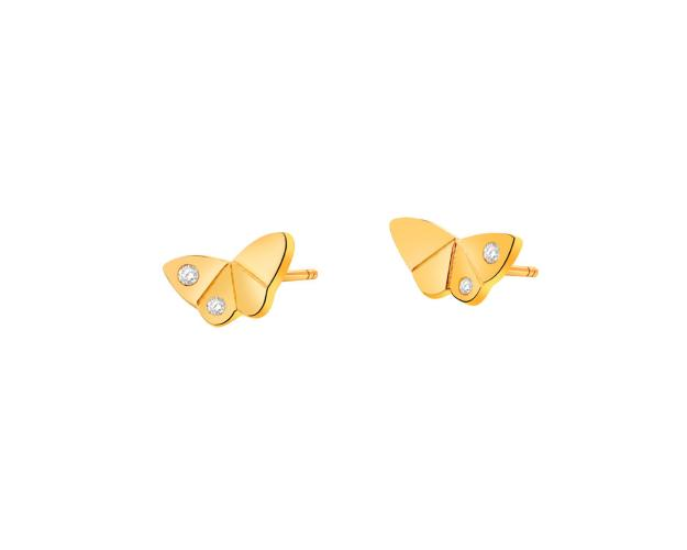 14ct Yellow Gold Earrings with Cubic Zirconia