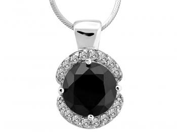Silver pendant with cubic zirconias