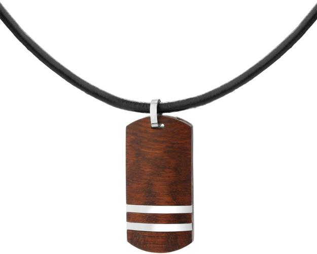 Stainless Steel Necklace with Wood