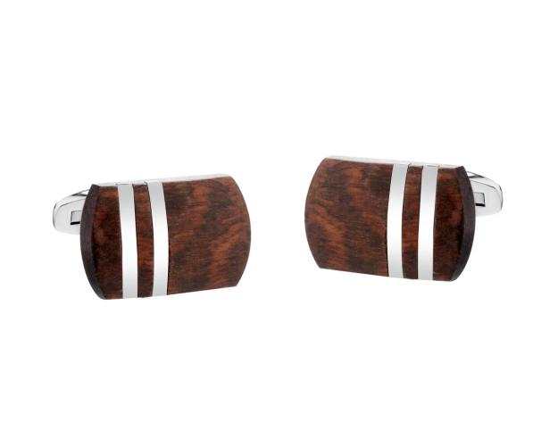 Stainless Steel Cufflink with Wood