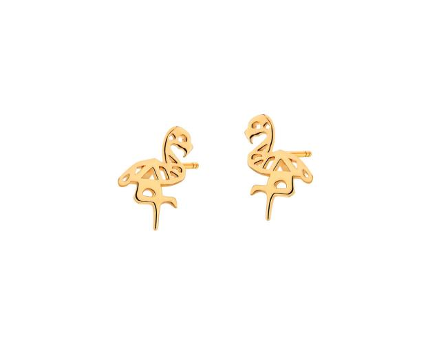 Gold earrings - Flamingos
