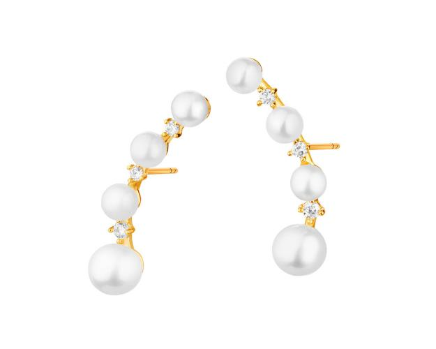 9ct Yellow Gold Earrings with Pearl