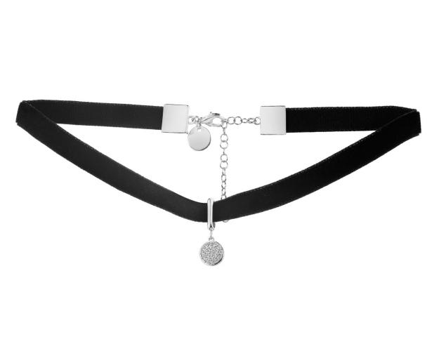 Rhodium-Plated Brass Choker with Cubic Zirconia