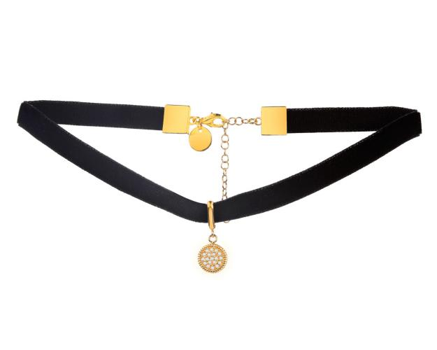 Gold-Plated Brass Choker with Cubic Zirconia