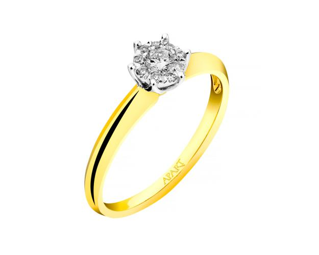 Anillo de Oro Blanco, Oro Amarillo con Diamantees