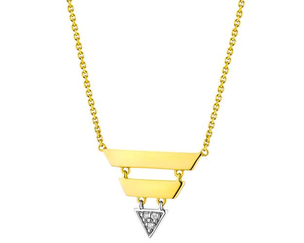 Collar de Oro Blanco, Oro Amarillo con Diamantees
