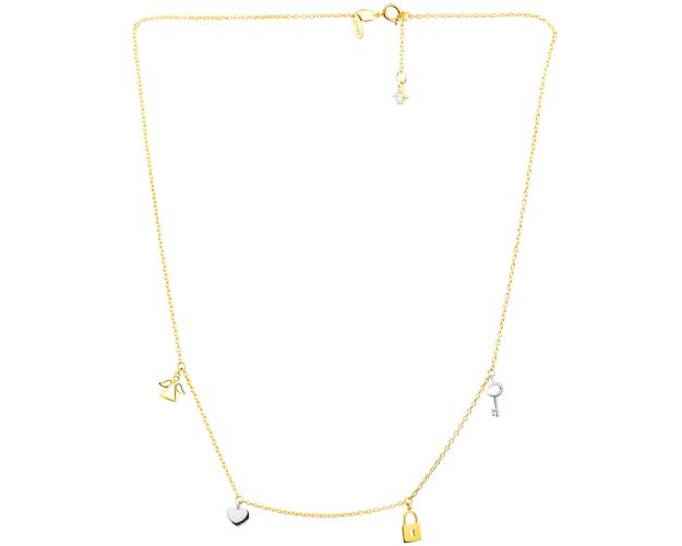 8ct Rhodium-Plated Yellow Gold Necklace with Cubic Zirconia