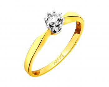 Yellow and white gold ring with brilliant