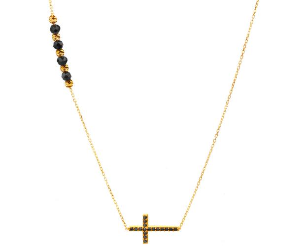 Yellow Gold Necklace with cross and black cubic zirconia