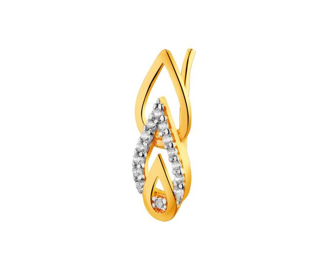 8ct Rhodium-Plated Yellow Gold Ear Cuff with Cubic Zirconia