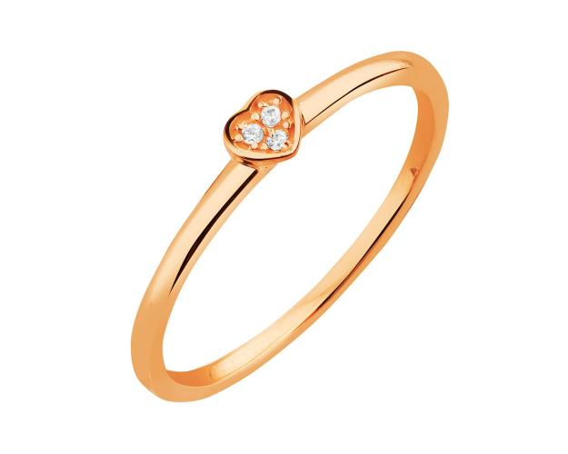 8ct Pink Gold Ring with Cubic Zirconia