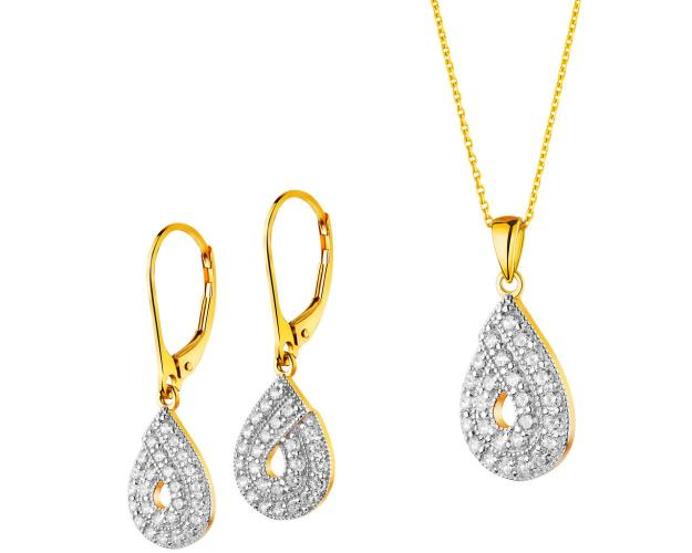 14ct Rhodium-Plated Yellow Gold Set with Cubic Zirconia