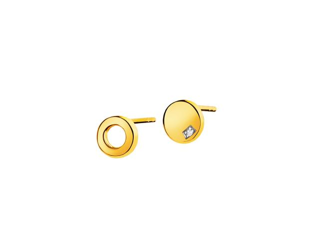 9ct Yellow Gold Earrings with Diamond