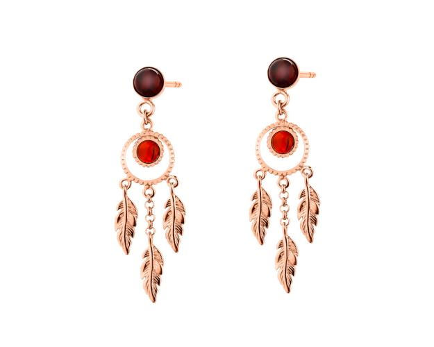Gold-Plated Silver Earrings with Amber
