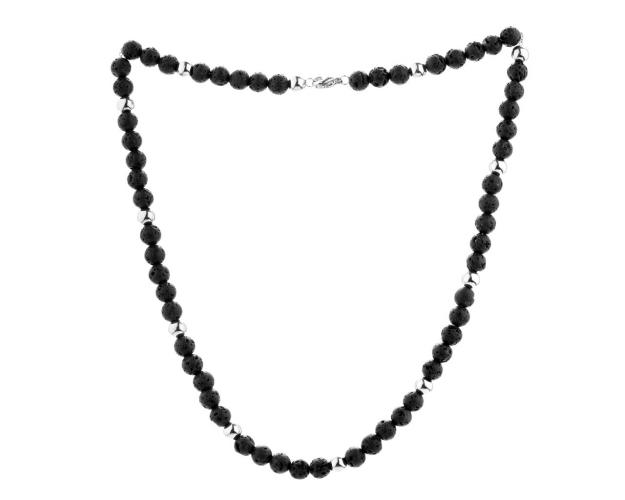 Stainless Steel Necklace with Volcanic Rock