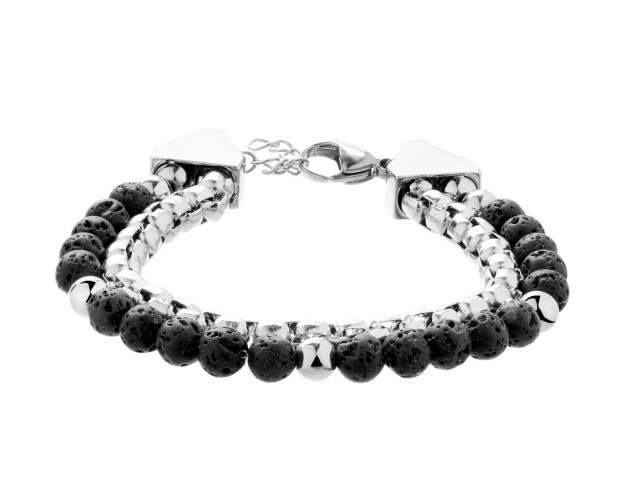 Stainless Steel Bracelet with Volcanic Rock